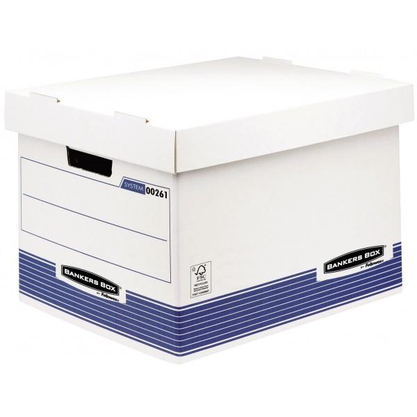 Bankers box system - scatole assemblaggio veloce colore bianco, blu