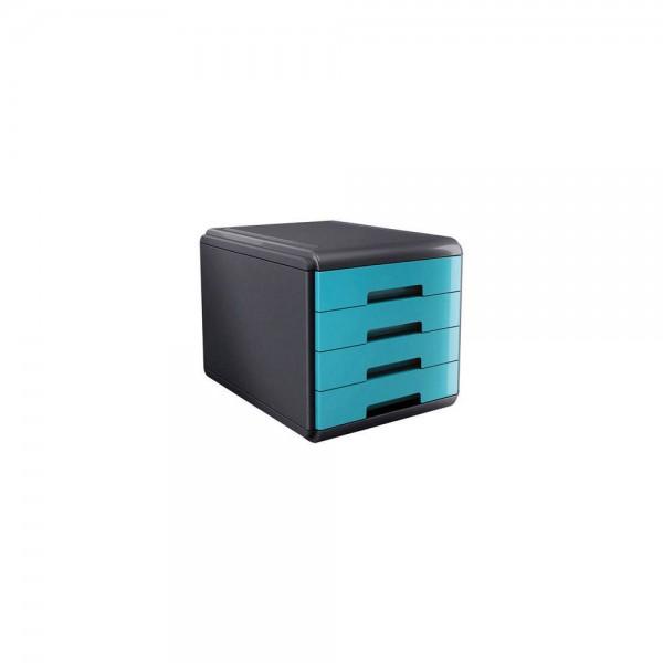 Cassettiera mydesk 4 cassetti colore turchese colore nero