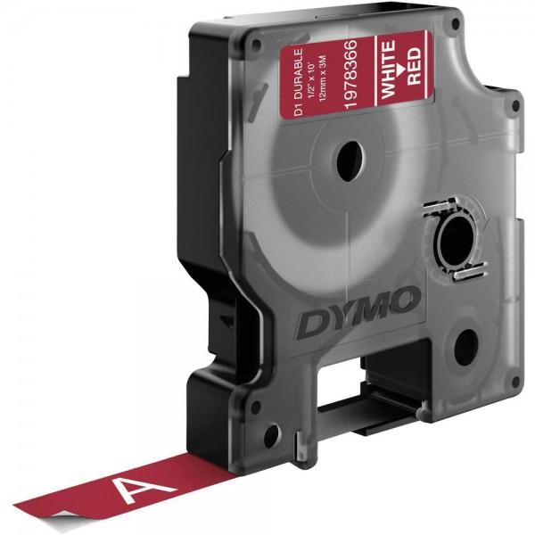 Dymo 1978366 nastro d1 bianco/rosso 12mm x 3m
