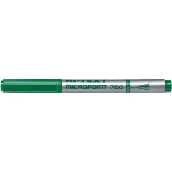 Penna punta sintetica hi-text 760 colore verde tipo punta conica