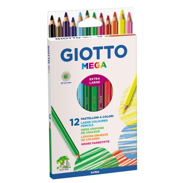Giotto mega - astuccio 12 pastelloni giganti colore assortiti colore assortiti