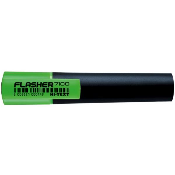 Evidenziatore hi-text 7100 flasher colore verde tipo punta scalpello