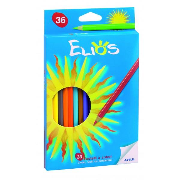 Astuccio elios 36 pastelli esagonali colore assortiti colore assortiti