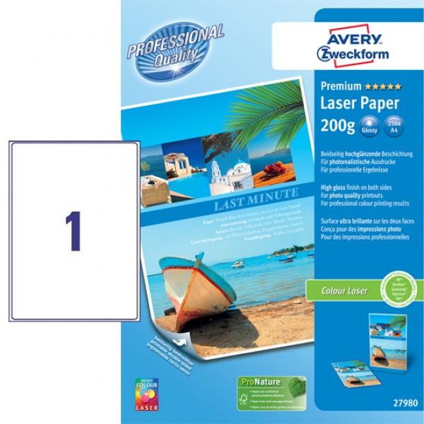 Carta bianca fotografica patinata extra glossy, ecologica, fsc, stampabile fronte retro, 200gr a4 - per stampanti laser - 100 fogli grammatura 200gr
