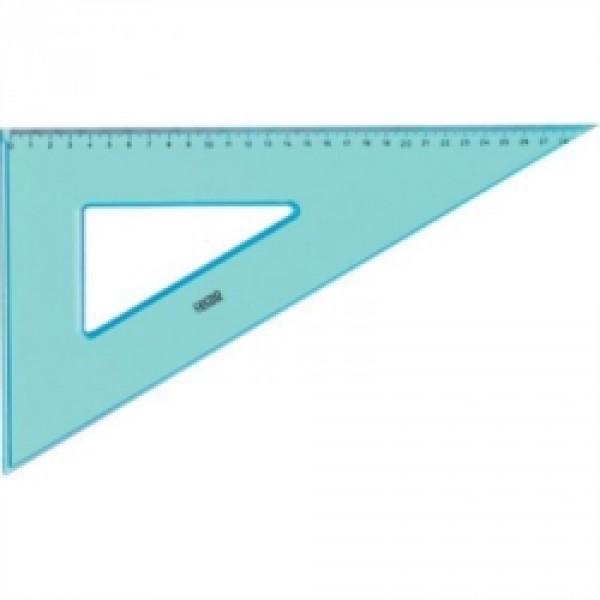 Squadra 60° tecnoschool 35cm colore azzurro trasparente