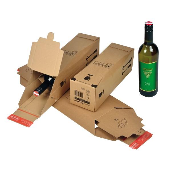 Scatola in cartone per bottiglie, chiusura autoadesiva,interno sagomato, formato 1 bottiglia (0.75ml) dimensioni interne 74x74x305mm - 10pz colore marrone