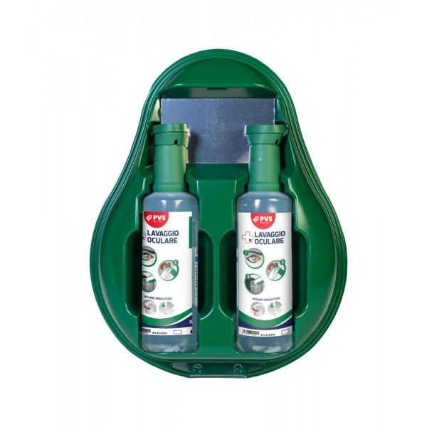 Drop stazione lavaggio oculare composta da due flaconi di soluzione salina sterile, monouso, dotati di un tappo oculare per facilitare l'utlizzo e di uno specchietto, chiusura antipolvere, 500ml - 1pz