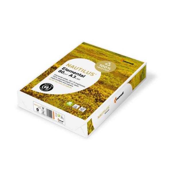 Nautilus elemental - carta riciclata a3 colore bianco grammatura 80gr