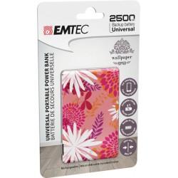 Emtec power essential flower 1 power bank 2500mah colore fantasia