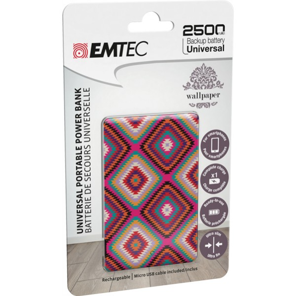 Emtec power essential aztec 2 power bank 2500mah colore fantasia