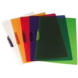 Cartelline video clipper con clip colore rosso trasparente