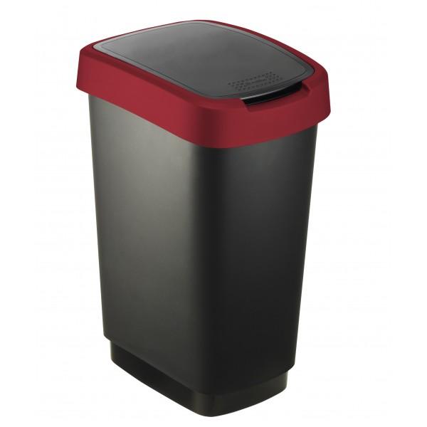 Cestino basculante  25lt colore nero/rosso