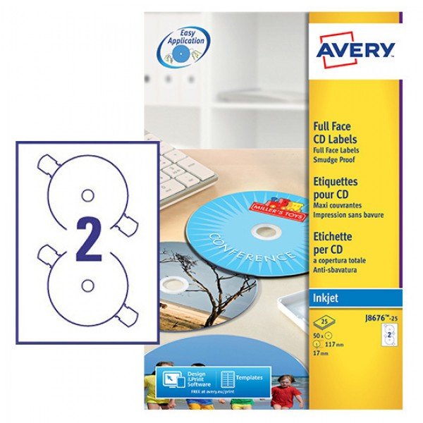 Etichette adesive in fogli a4 - per cd/dvd a copertura totale colore bianco opaco