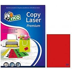 Etichette permanenti fluorescenti colore rosso