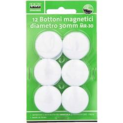 Bottoni magnetici blister 12pz colore bianco