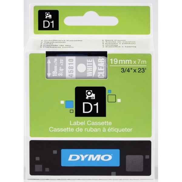 Dymo s0720900 nastro d1 bianco/trasparente 19mm x 7m
