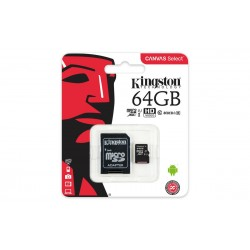 Kingston sd micro 64gb classe 10 adattatore incluso colore nero