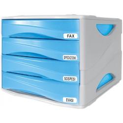 Cassettiera smile 4 cassetti colore azzurro colore grigio