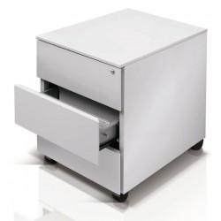 Cassettiera su ruote, 3 cassetti colore bianco
